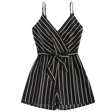womens jumpsuit Striped Female Rompers Bow Belt V-Neck short