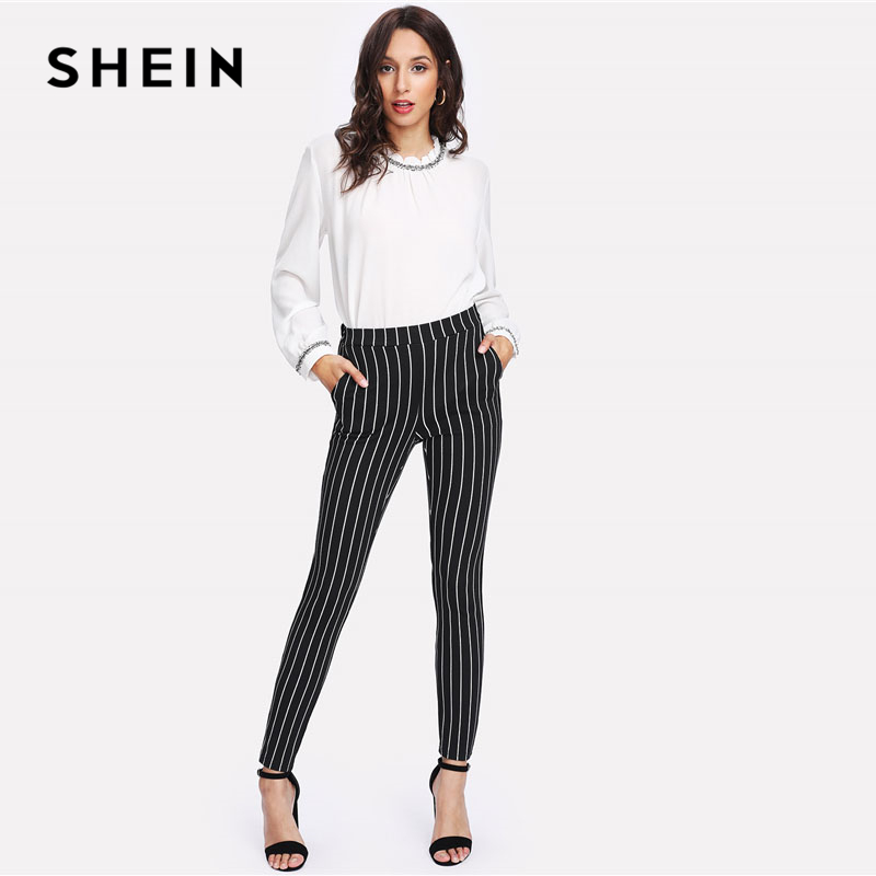 Image 4 - SHEIN Vertical Striped Skinny Pants Women Elastic Waist Pocket OL Style Work Trousers 2018 Spring Mid Waist Long Pencil Pants-in Pants & Capris from Women's Clothing