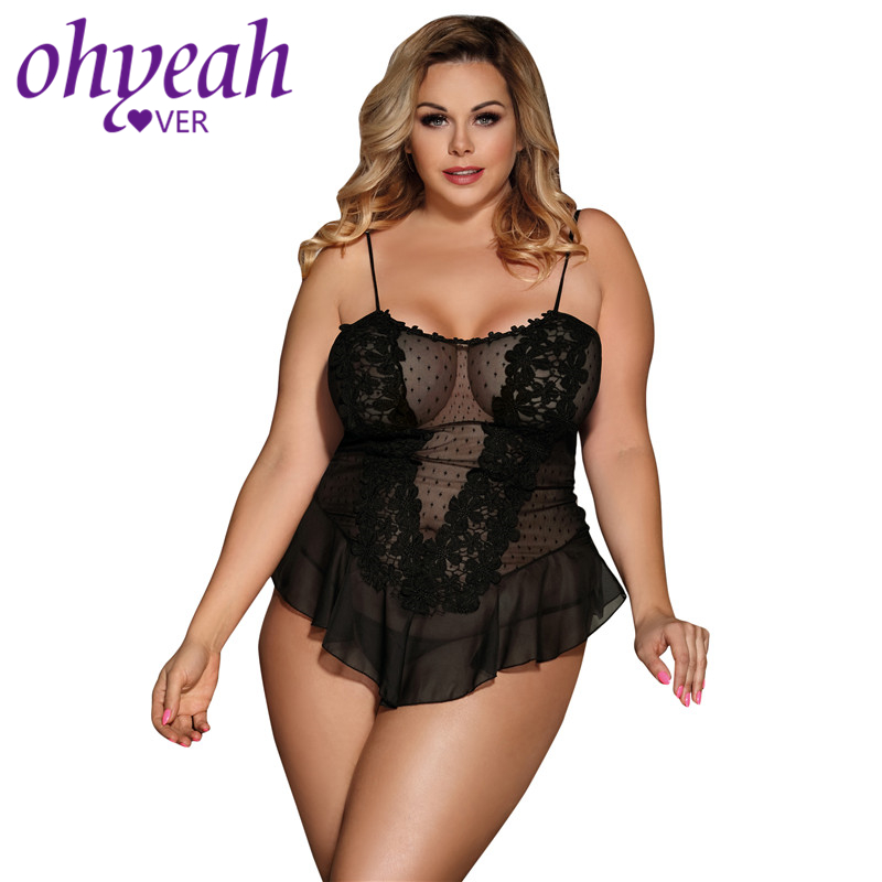 Ohyeahlover Lingerie-sexy-hot-erotic Plus Size Lingerie Dress Erotic RM80485 Sexy Dotted White Stereoscopic Flower Lace Babydoll