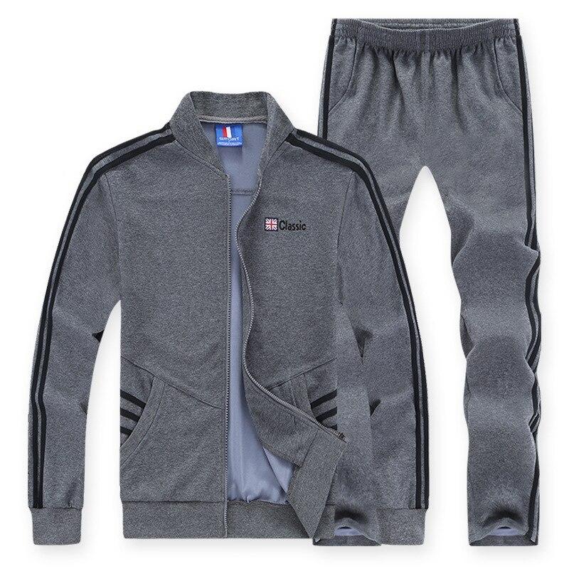 AmberHeard 2017 Spring Autumn Men Sporting Suit Hoodie Jacket Pant Sweatsuit Two Picec Set Sportswear Tracksuit