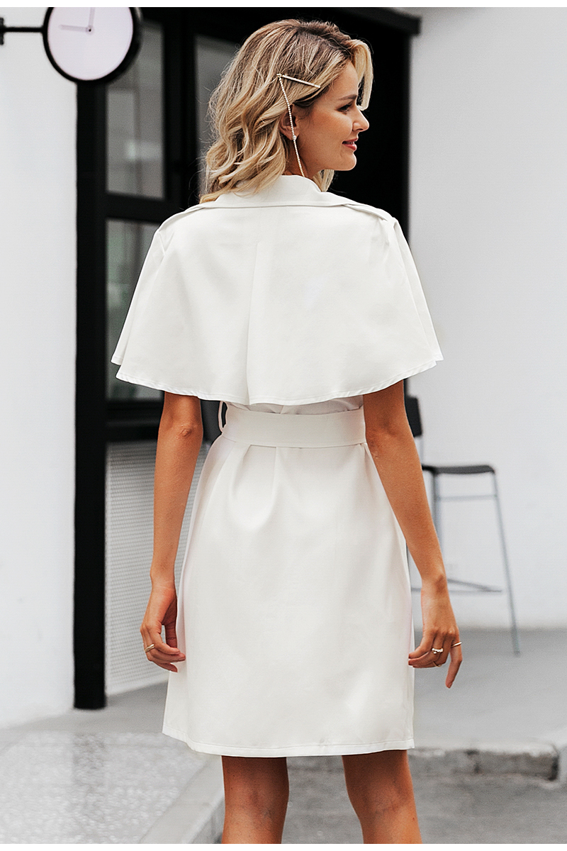 Simplee Solid ruffled sleeve women blazer dress Elegant sash belt office ladies trench dress V-neck shawl party dress vestidos 11