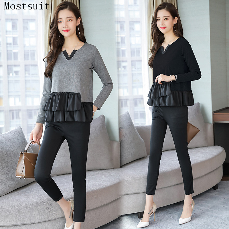 L-5xl Grey Black Casual Two Piece Set Women Long Sleeve V-neck Tops+skinny Pants Women's Sets Elastic Waist Pants Plus Size 2019 25