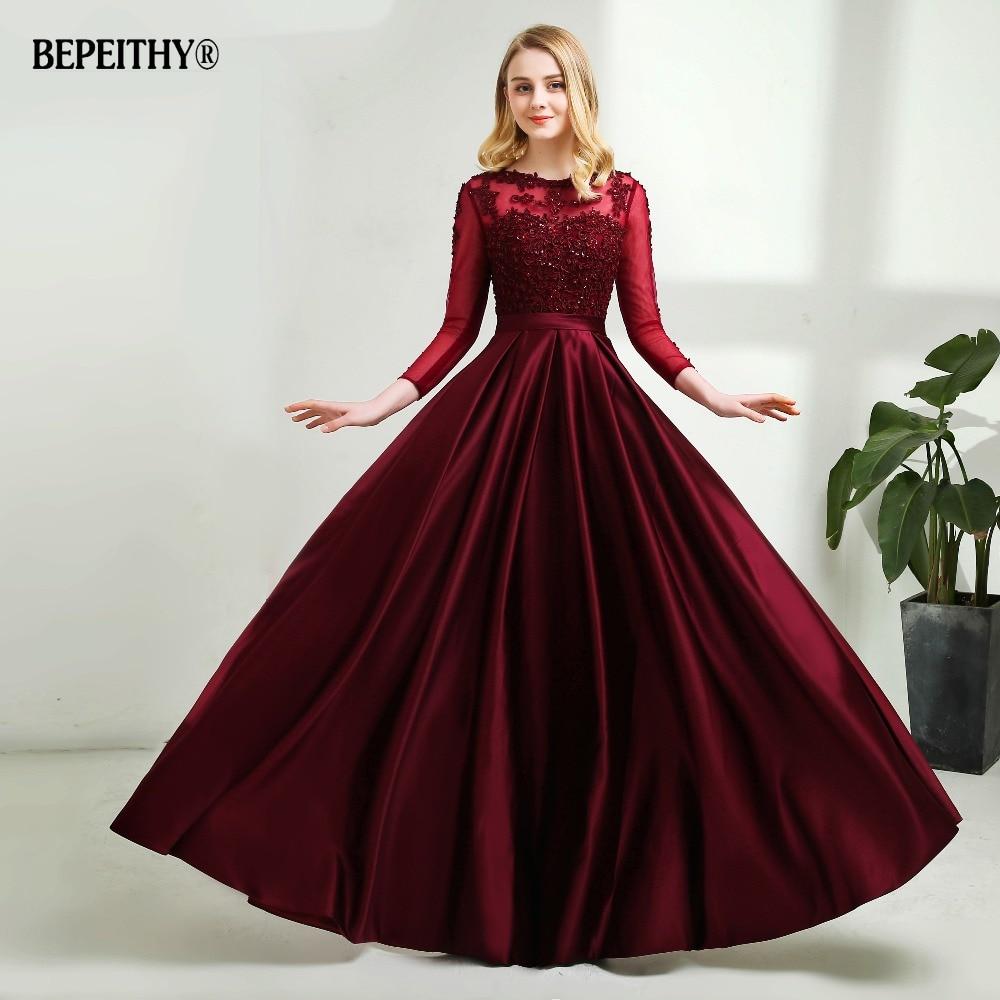 Robe De Soiree Long Sleeves Burgundry Long Evening Dresses 2019 Floor Length Vintage Lace Top Cheap