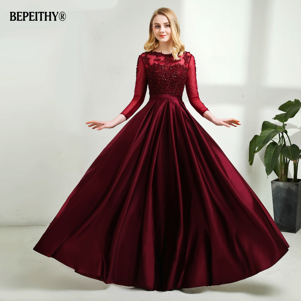 Robe De Soiree Long Sleeves Burgundry Long Evening Dresses 2019 Floor Length Vintage Lace Top Cheap Prom Dresses