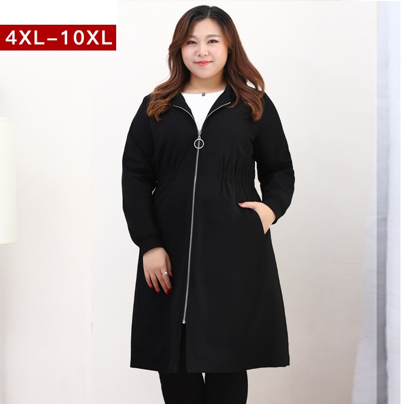 4XL 9XL Large size women clothes outerwear 2018 spring new female windbreaker women long hooded trench