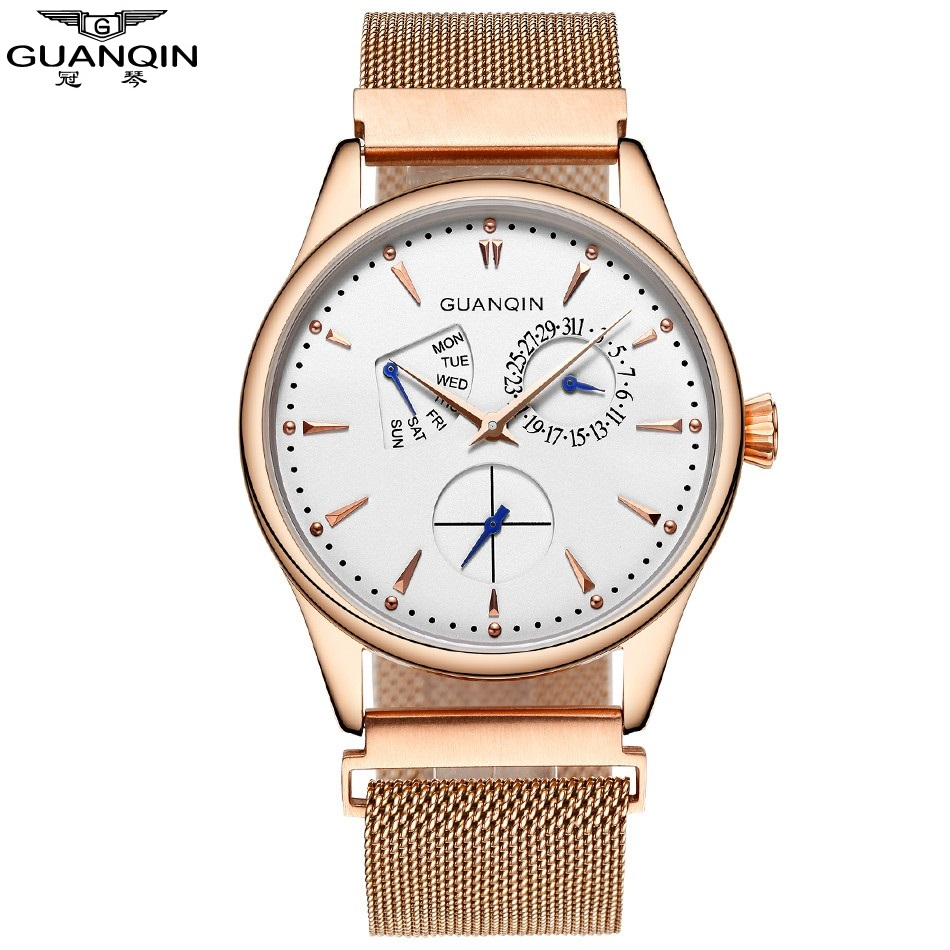 ФОТО 2017 New Guanqin Quartz Watch, Men Watch Luxury Brand Male Watch Wrist Clock Men With Week Date Waterproof Relogios