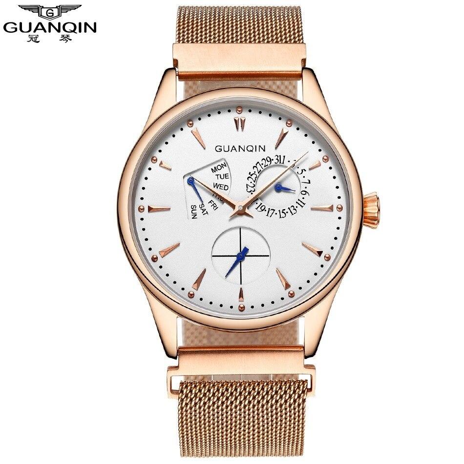 2018 nouvelle montre à Quartz Guanqin, hommes montre de luxe marque homme montre-bracelet horloge hommes avec semaine Date étanche Relogios