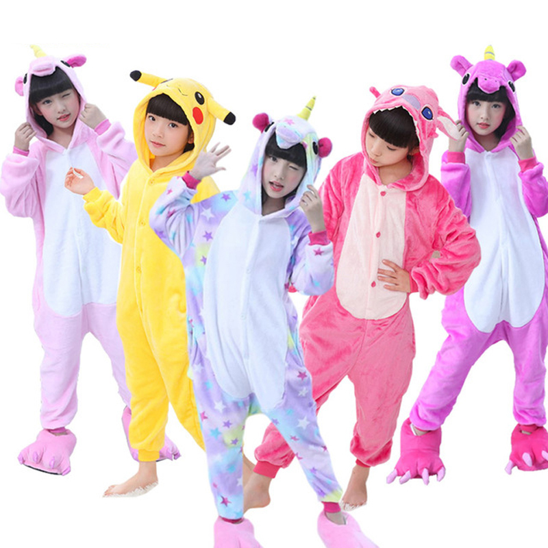Children's Pijamas Kigurumi Unicorn Kids   Pajamas   For Boys Girls Flannel Children   Pajamas     Set   Winter Animal Sleepwear Onesies