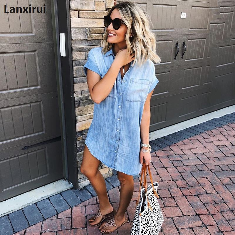 2019 Spring Autumn Woman Slim Denim Shirt Female Long sleeve Shirt Jeans Blouse Tops Outerwear plus size 3xl in Blouses amp Shirts from Women 39 s Clothing