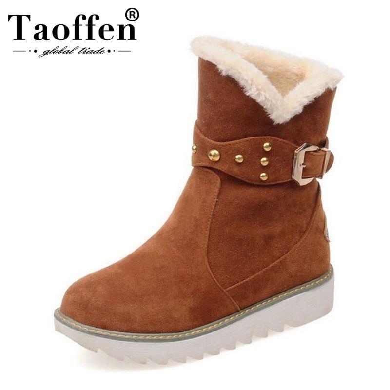 Taoffen Größe 33-43 Frauen Schnee Stiefel Plüsch Pelz Nieten Schnalle Warme Winter Schuhe Frauen Mode Plattform Runde Kappe Ein Stiefel Durchsichtig In Sicht Schuhe Knöchel-boots