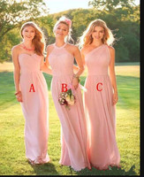Blush Pink Long Country Style Bridesmaid Dresses Ruched One Shoulder Sweetheart Backless Cheap Maid of the Honor Dresses Sexy