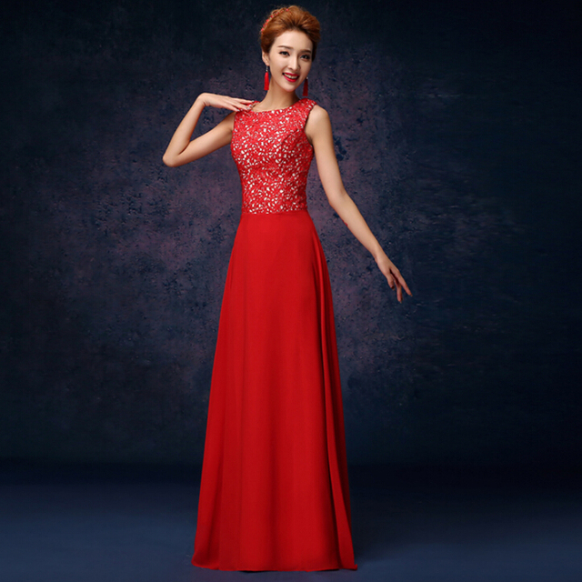 special occassion floor length long lace formal party dress red ...