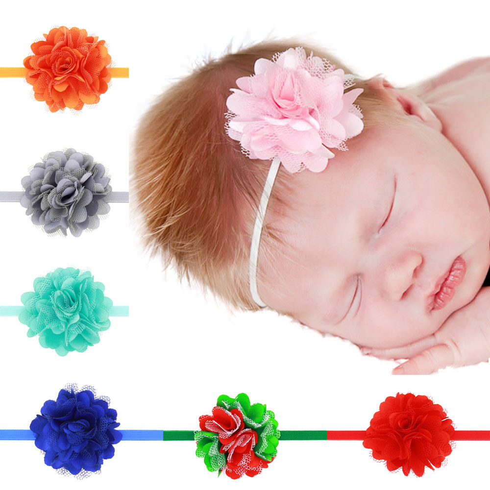 1 Piece MAYA STEPAN Children Girls Satin Lace Flower Baby Hair Head Band Baby Newborn Hair Rope Headband Headwear Headwrap