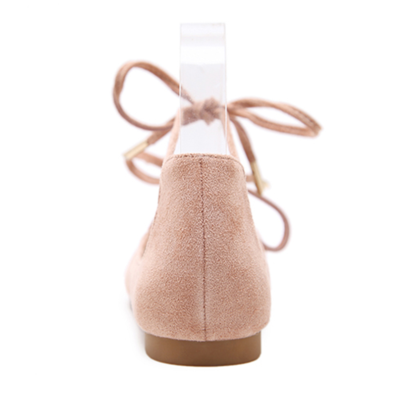 fb2ca5675 2018 Summer Women Casual Black Pink Lace Up Suede Dressy Ballet Flats Fancy  Ladies Soft Pointed Toe Ballerina Flat Party Shoes-in Women's Flats from  Shoes ...