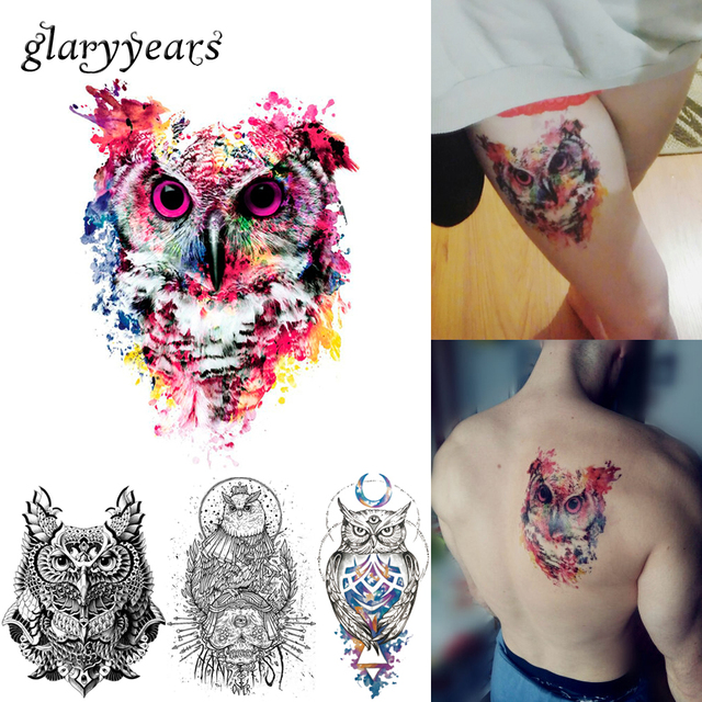 1 Sheet Colorful Drawing Temporary Tattoo Women Men Body Art Catoon Owl Decal Design KM-014 Waterproof Tattoo Sticker Watercolor