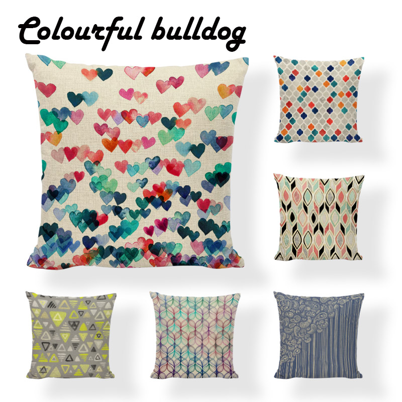 Joyous And Loving Love Geometric Print Cushion Cover Living Room Sofa Pillows Decorated Beige Linen Wholesale Throw Pillowcases
