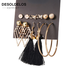2019 New 6 Pairs/Sets Fashion Gold Color Leaves Long Tassel Love Letter Stud Earrings Set For Women Brincos Jewelry