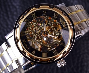 Image 2 - ساعة ذهبية شفافة ساعات رجالية ماركة فاخرة Relogio ساعة رجالية ساعة عادية ساعة رجالية Montre Homme ساعة ميكانيكية موديل سكيلتون