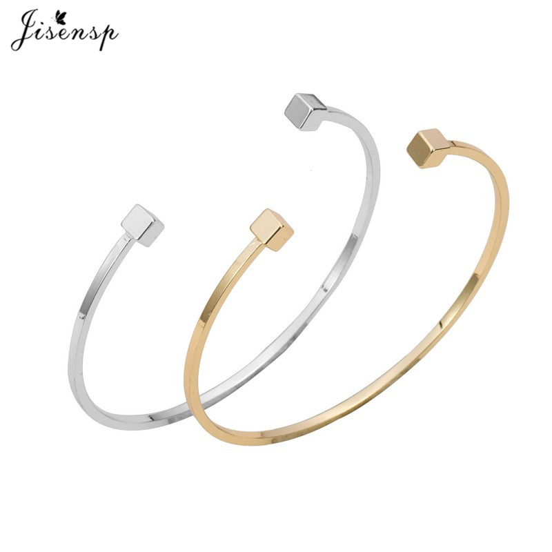 2015 New Gold and Silver Adjustable Double Square Bar Women Brcacelet Bangles Simple Open Bar Bangles