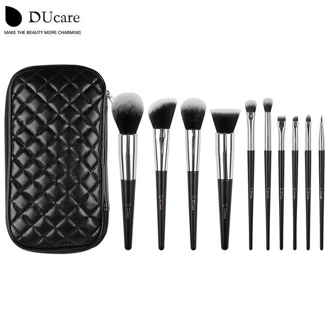 DUcare кисти для макияжа 10 шт. высокое качество набор кистей профессиональный бренд макияж кисти с черным мешком красоты эфирные кисти