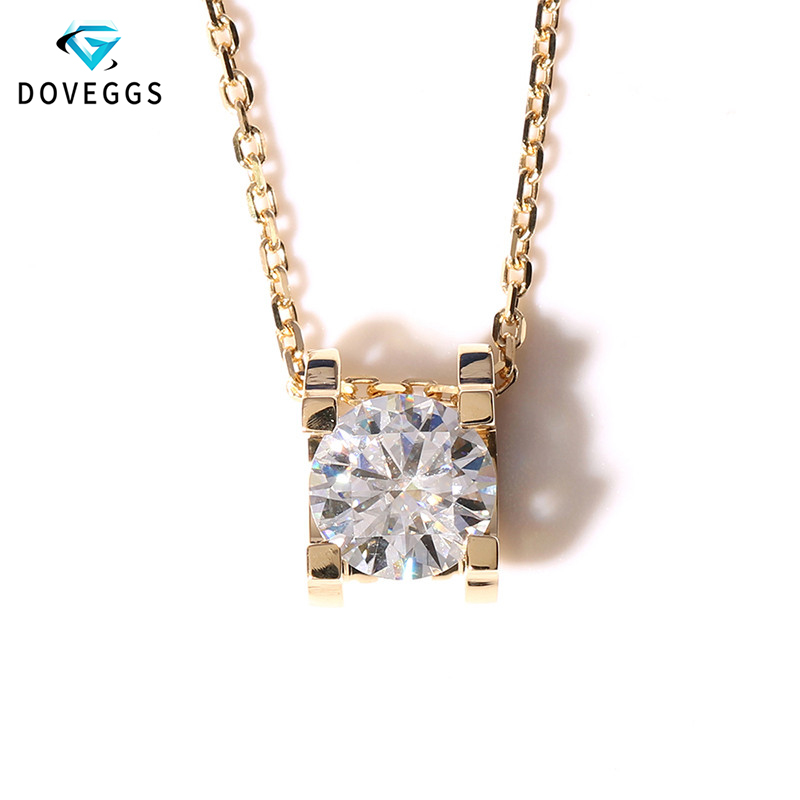 DovEggs 14K 585 Yellow Gold 1ct Carat 6 5mm F Color Moissanite Pendant Necklace for Wommen