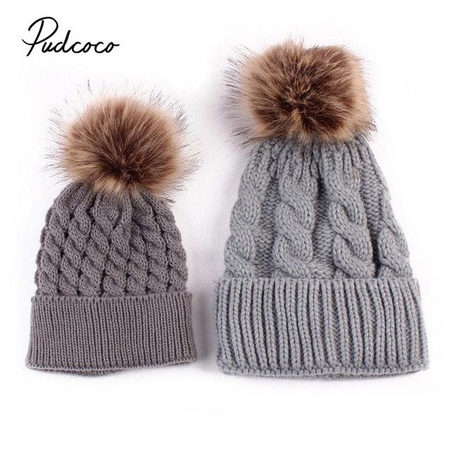 adda8f7eac2 Pudcoco 2018 Mother Baby Hats Women Baby Boy Girls Knitting Pom Bobble Hat  Winter Warm Beanie Knitted Matching Cap 5 Colors