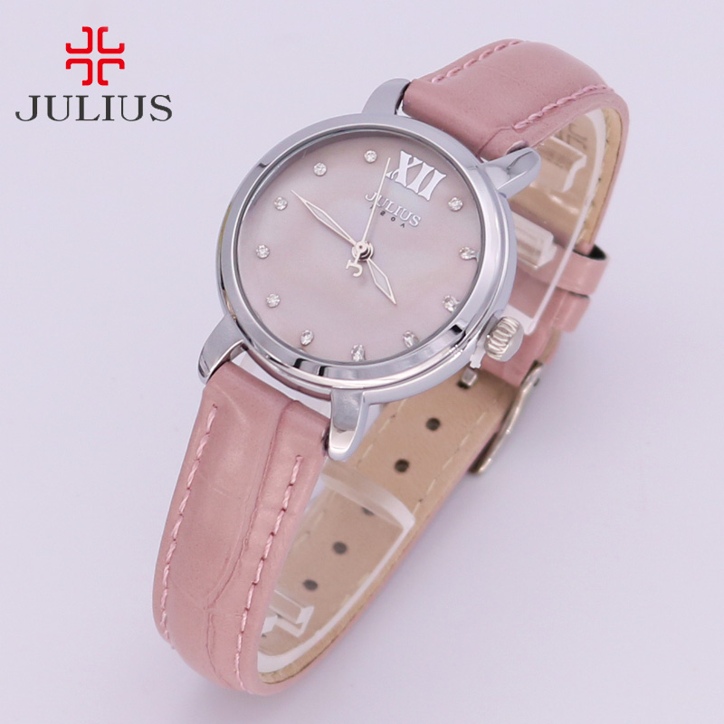 New Shell Women's Watch Japan Quartz Hours Simple Classic Fine Fashion Dress Bracelet Leather Girl Christmas Gift Julius  945 new simple cutting glass women s watch japan quartz hours fashion dress stainless steel bracelet birthday girl gift julius box