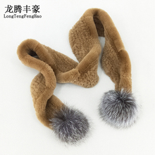 2018 Real Rex Rabbit Fur Winter Scarf 100% Genuine Women Cute Pompom Design Warm Long Female Muffler