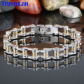 TrustyLan Fashion Charm Mens Bracelets Men Jewelry Gold Plated Stainless Steel Motorcycle Bicycle Chain Link Mens Bracelets Band