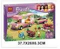 Nueva original amigos BELA 10168 RV bloques de construcción de plástico 314 unids/set aventura de niñas Camper ladrillos juguetes compatibles con Legoe
