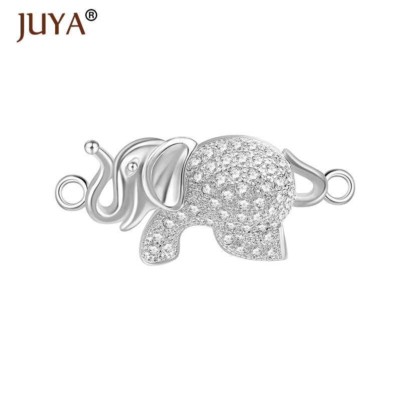 Handmade Micro Pave CZ DIY Copper Jewellery Findings Thailand Cute Small Elephant Charm Pendant Connectors For Jewelry Making