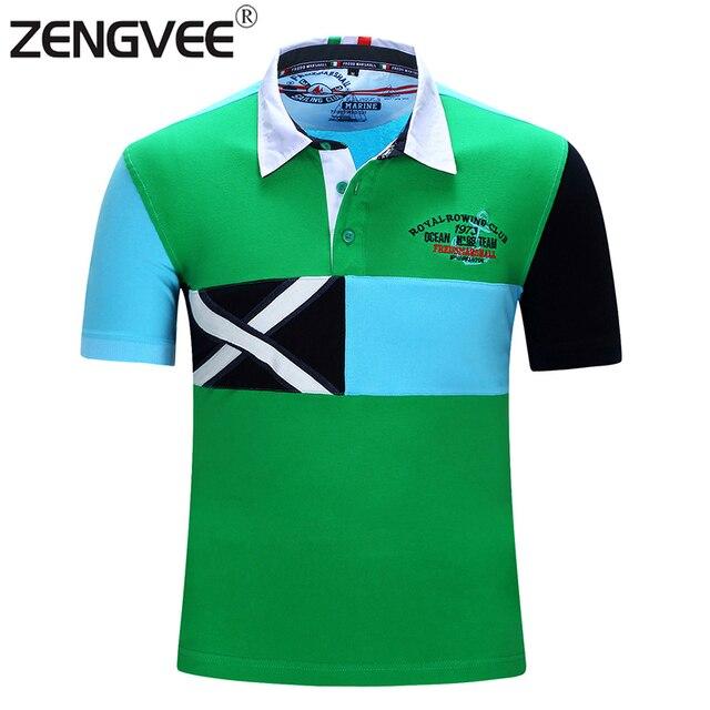Мода Новые Рубашки Поло Мужчин Camisas Masculinas Качество Бренд Поло Летом С Коротким Рукавом Лоскутное Дышащий Флаг Стиль
