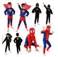 Traje de Halloween para crianças capas de super herói Anime Cosplay carnaval Costume Red Spiderman Costume preto Batman Superma