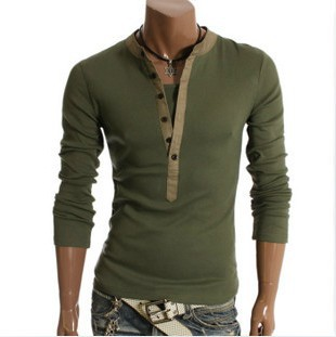 c13b98623508 Mens Designer Casual V Neck T-Shirts Tee Shirt Slim Fit Tops New Long  sleeve t-shirt M L XL XXL