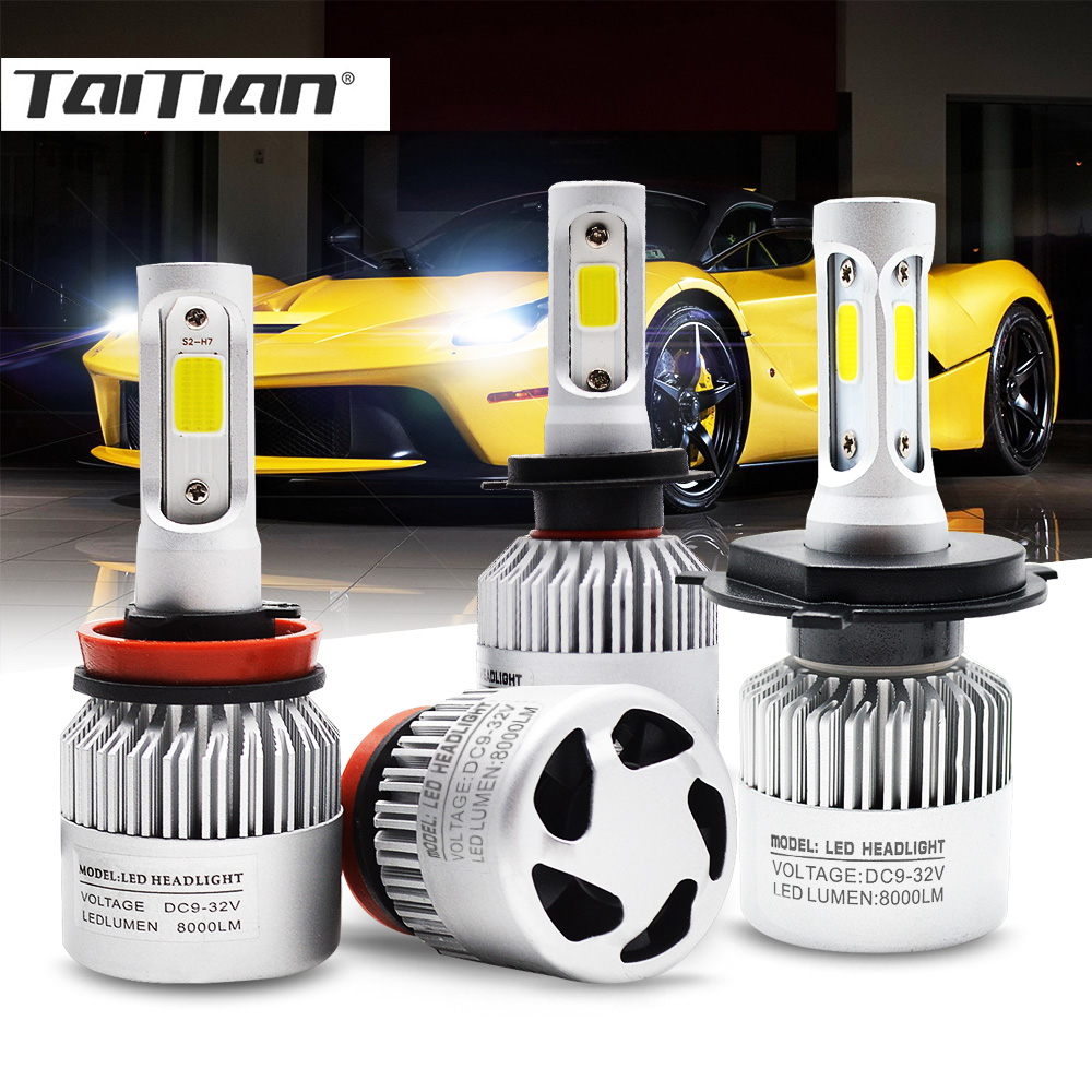 Taitian 2Pcs COB 72W 8000LM 6500K 12V H7 Led H4 Auto H1 Super Led H11 Fog Light H13 H27 880 9004 9005 HB3 9006 HB4 9007 for lada