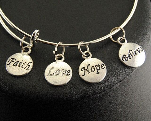 Believe Charm Round Bangle Bracelet