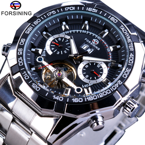 Forsining 2017 Stainless Steel Tourbillion Design Fashion Mens Watch Top Brand Luxury Autonatic Mechanical Military Wristwatch