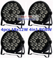 4xLot LED Par Light 18x12W 4in1 RGBW EU/US Plug 8CH LED Par64 DMX Stage Effect Lighting DJ Disco Wash Lights for Home Party Show