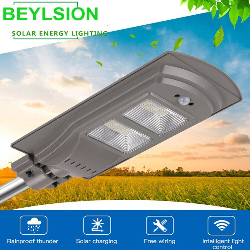 BEYLSION Remote Control Radar Sensor 20W 40W 60W LED Solar Street Flood Light Pole Emergency Lamp For Garland Garden Street (4)