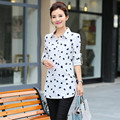 2016 spring and autumn female Korean chiffon  sleeved shirt slim long blouses in head
