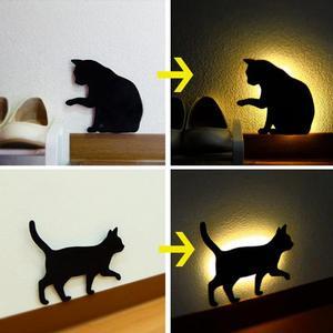Image 5 - חדש LED Motion חיישן חכם שליטת קול/אור אוטומטי חם לבן לילה אור בית מסדרון מרפסת תינוק ילדים חמוד חתול שינה מנורה