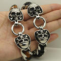 cool bone skull in pocker spade woven leather 316 stainless steel bracelet new