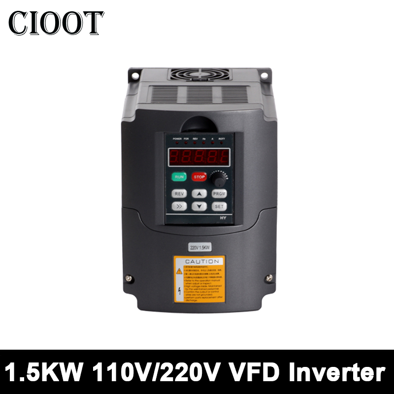 1.5kw VFD Variable Frequency Driver 110V/220V Inverter Converter Speed Control 1HP or 3HP Input 3HP For CNC Spindle Motor Tools good quality vfd 2 2kw 110v variable frequency inverter motor machine tools dirve inverter
