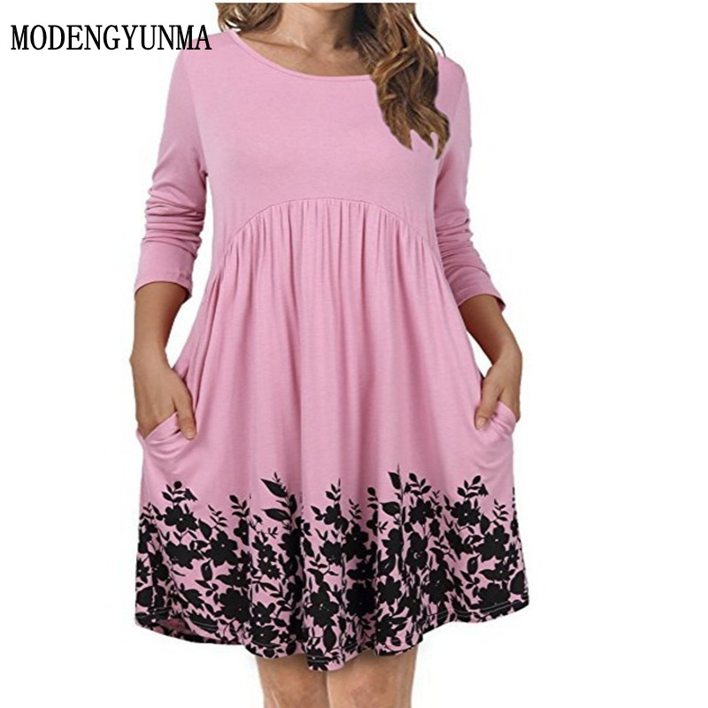 MODENGYUNMA Maternity dress Round Neck Easy Pocket Printing Dress Pregnancy Women Clothing Long Sleeve Pregnant Woman Dress new sweet style round neck long sleeve printed pocket design cardigan for women