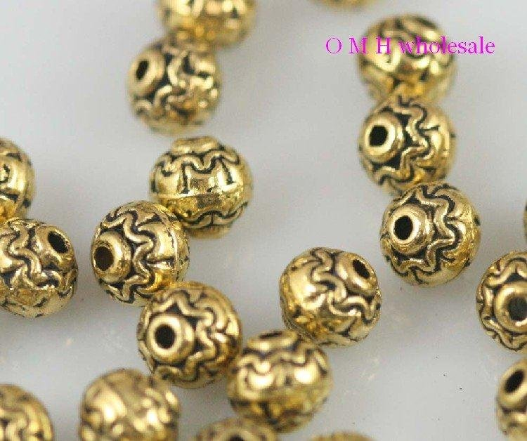 OMH Wholesale Free Ship 20pcs Golden Spacer Beads Jewelry Metal Beads 7x7mm ZL508