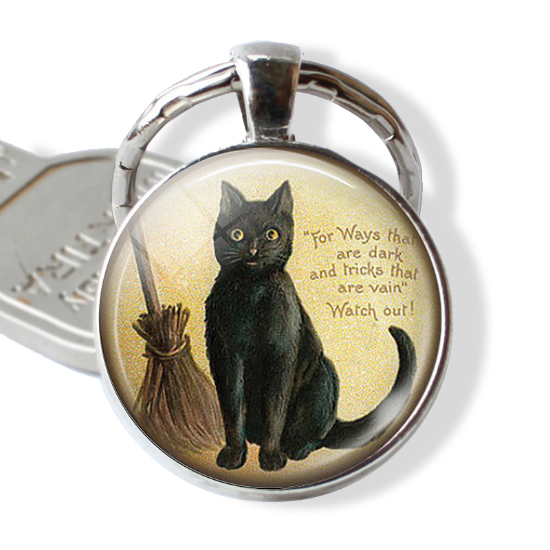 BLACK CAT Quote Keychain Lovers Keyring Cat With Broom Witch Glass Vintage Kitten Jewerly Black Cat Cabochon Key Chain Ring