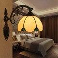 Витражная стеклянная настенная лампа для дома  американская винтажная настенная лампа для бара  кафе  ресторана  спальни  прикроватная ламп...