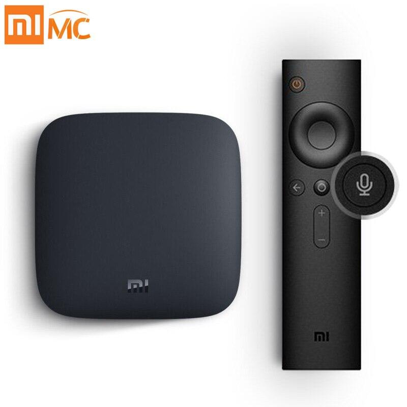 Internationalen Xiao mi mi BOX 3 Android 8.0 Smart WIFI Bluetooth 4 karat HDR H.265 Set-top TV Box Youtube netflix DTS IPTV Media Player