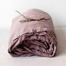 4pcs 100% Pure bedding set Purple Washed Linen Duvet Cover Set Vintage Linen Pillowcase Home Decor Linen sheets bed