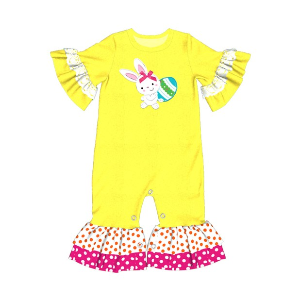 98fa979c0a9 CONICE NINI wholesale Hot Baby Rompers Yellow Colors Cotton Bunny Clothes  Infant Children Easter Party Jumpsuits